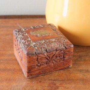 vintage 1960s teak wood carved inlay elephant box